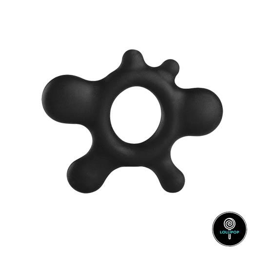 фото черного с шестью отростками кольца на пенис RAIN
