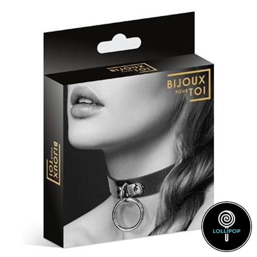 Чокер с кольцом Bijoux Pour Toi - FETISH Black