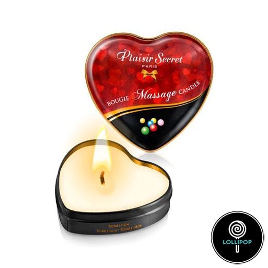 Массажная свеча сердечко Plaisirs Secrets Bubble Gum