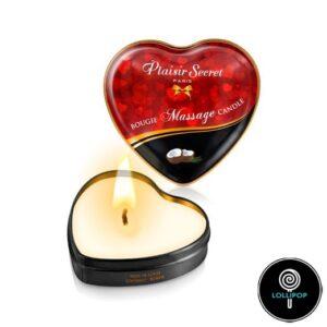 Массажная свеча сердечко Plaisirs Secrets Coconut