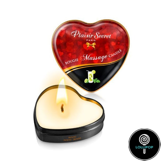 Массажная свеча сердечко Plaisirs Secrets Mojito
