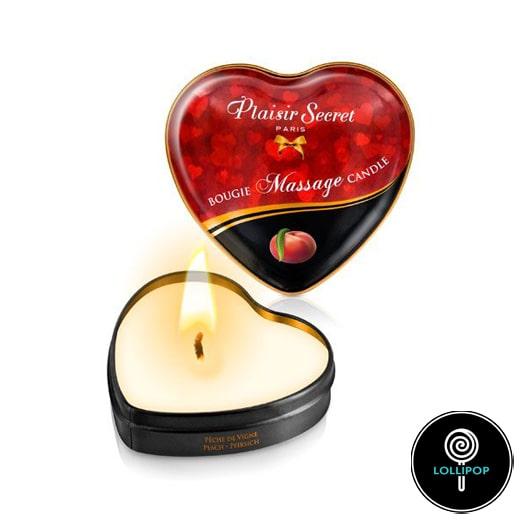 Массажная свеча сердечко Plaisirs Secrets Peach