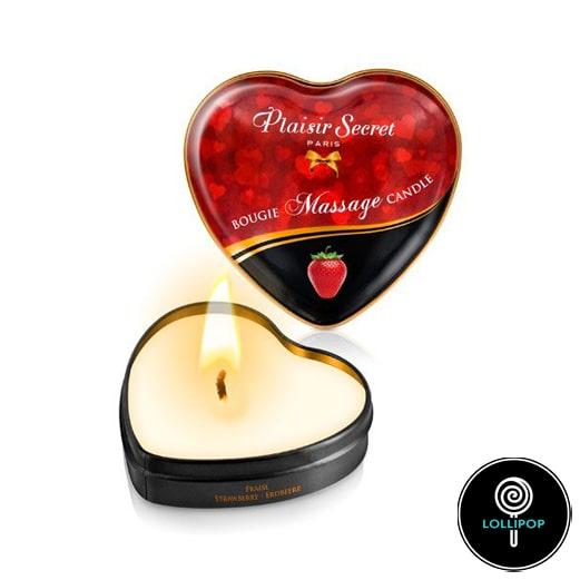 Массажная свеча сердечко Plaisirs Secrets Strawberry